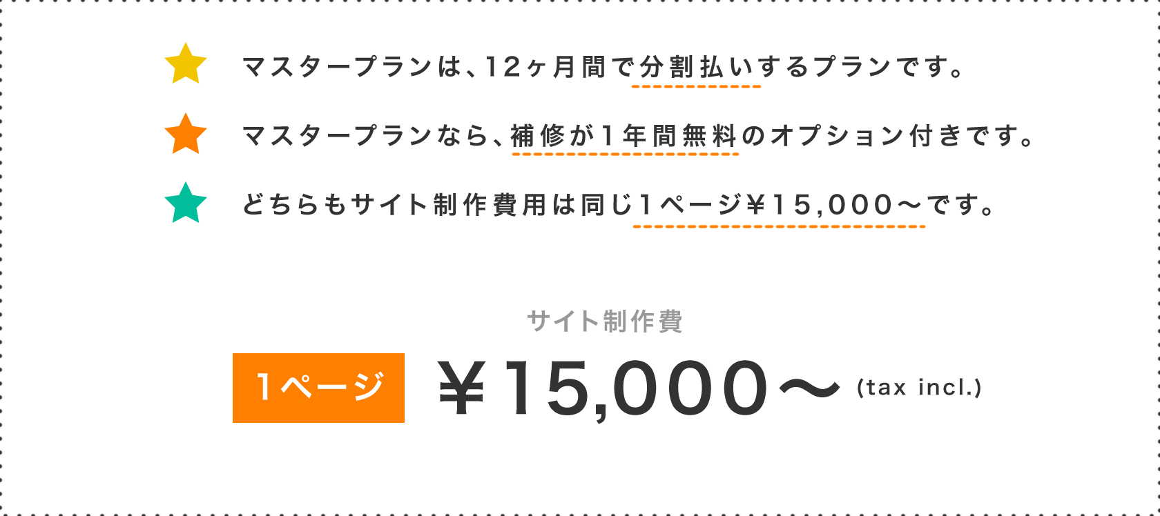 マスタープランは、12ヶ月間で分割払いするプランです。マスタープランなら、補修が1年間無料のオプション付きです。どちらもサイト制作費用は同じ1ページ¥15,000〜です。