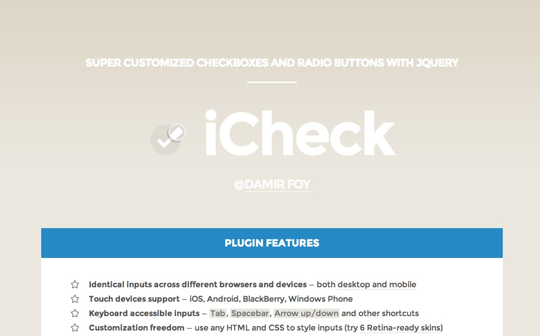 フォームをおしゃれに実装できる iCheck.js