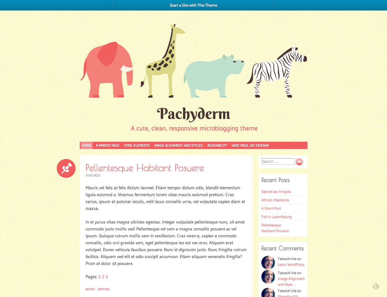 Pachyderm A cute clean responsive microblogging theme