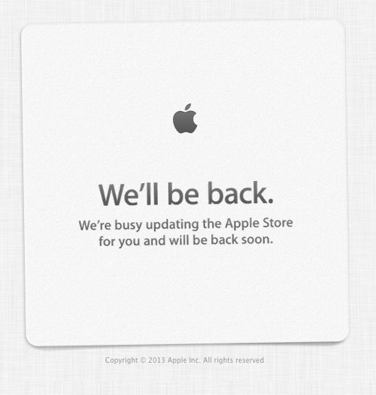 9月10日発表間近 アップルストアが「We'll be back」表示に