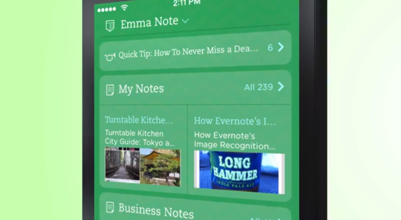 EvernoteがiOS 7新登場でグリーン背景の可愛いデザインに大幅アップデート!