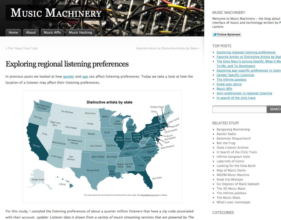 全米の各地域で影響力のあるアーティストは誰? 海外の音楽ブログで特徴的なマップが公開