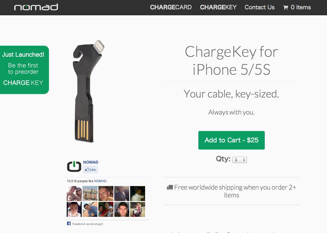 CHARGEKEY iPhone 5   USB Charging Cable  Key Sized