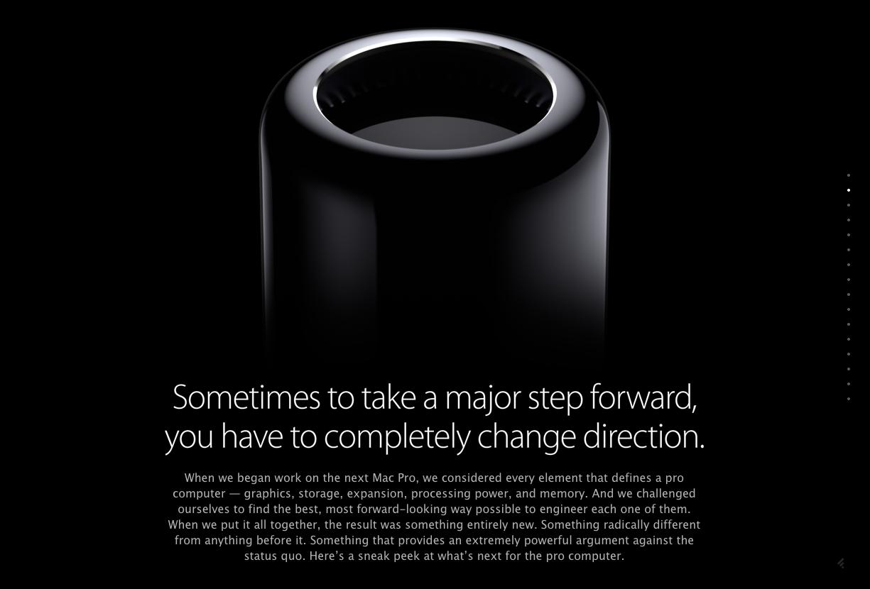 アップル 新しいMac Proは驚愕の円柱型ブラックボディに