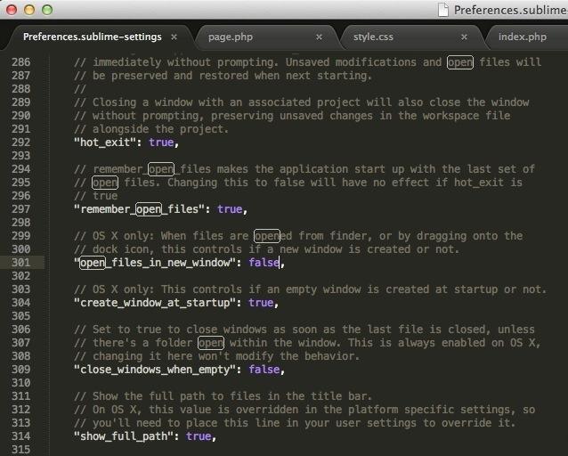 Sublime Text 2 ファイルを開く時「新規タブ」で開くようにする設定方法