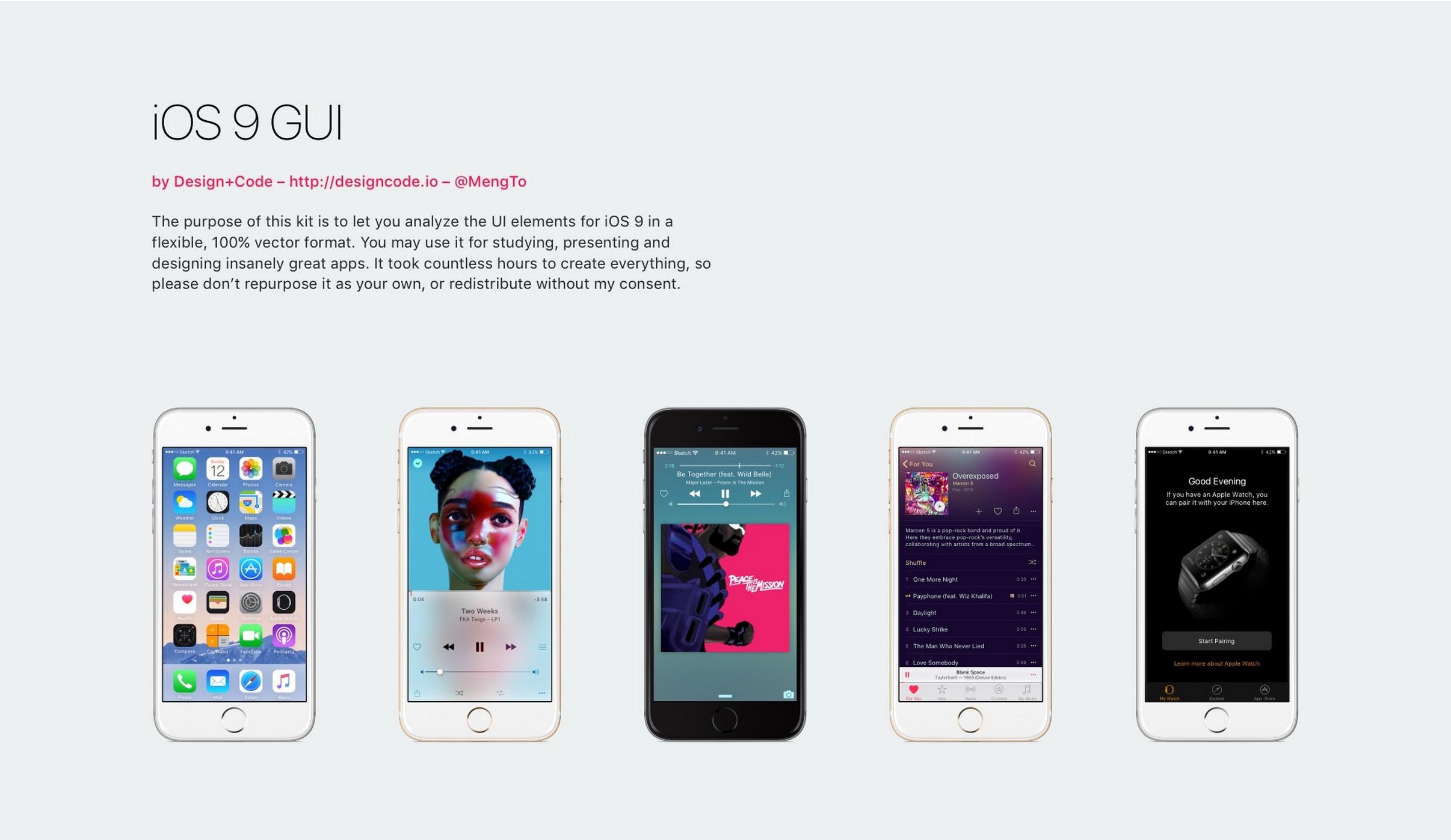 iOS 9 GUI for Sketch Design Code